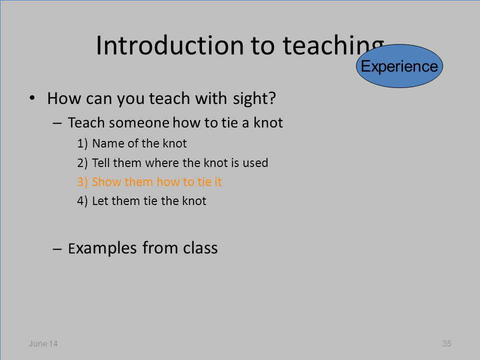 Introduction to teaching How can you teach with sight.