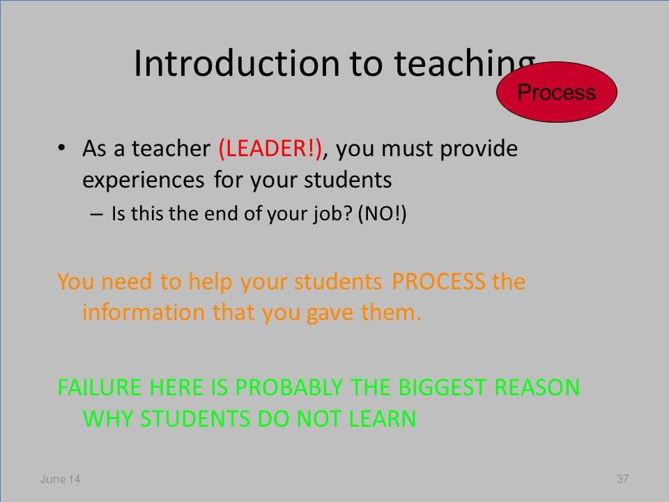 Introduction to teaching As a teacher (LEADER!), you must provide experiences for your students – Is this the end of your job.