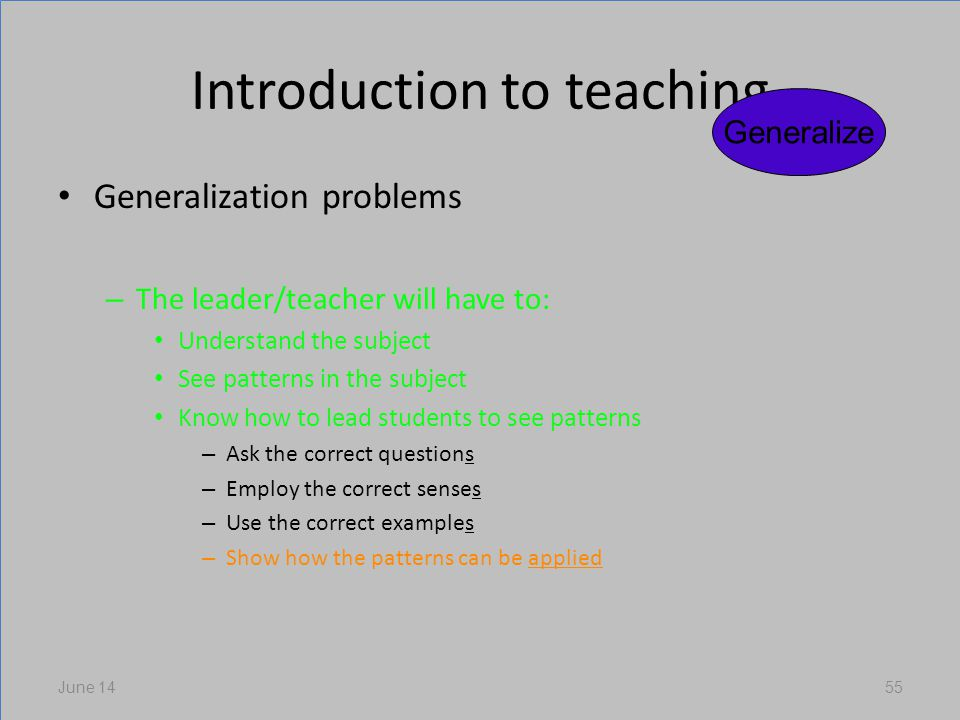 Introduction to teaching Generalization problems – The leader/teacher will have to: Understand the subject See patterns in the subject Know how to lead students to see patterns – Ask the correct questions – Employ the correct senses – Use the correct examples – Show how the patterns can be applied June 1455 Generalize