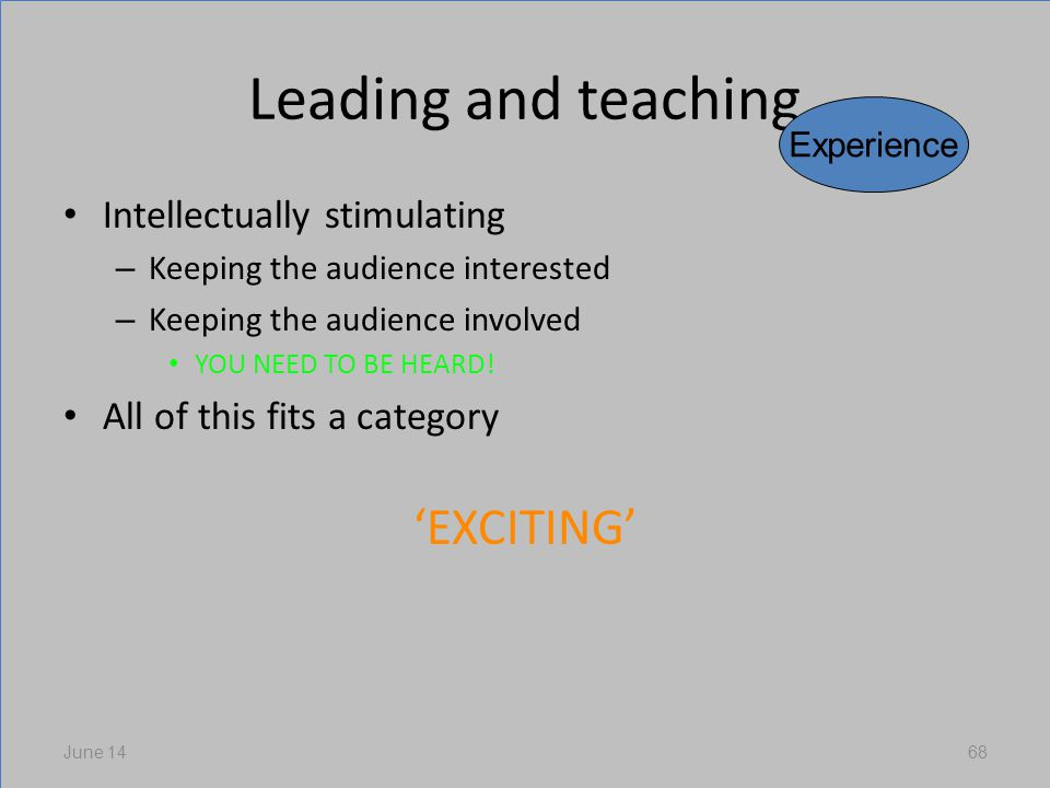 Leading and teaching Intellectually stimulating – Keeping the audience interested – Keeping the audience involved YOU NEED TO BE HEARD.