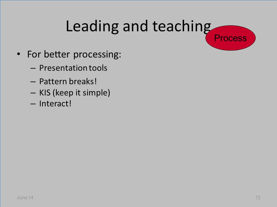 Leading and teaching For better processing: – Presentation tools – Pattern breaks.
