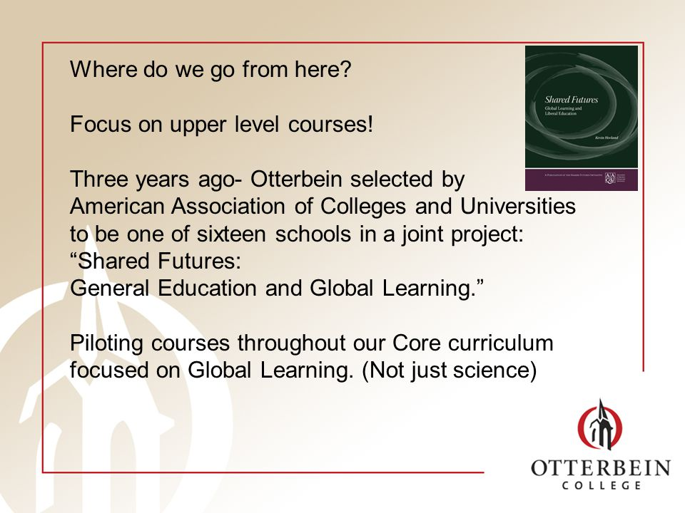 Where do we go from here. Focus on upper level courses.