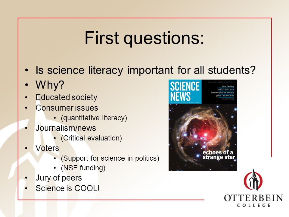 First questions: Outcomes of science education different for major vs non-major.