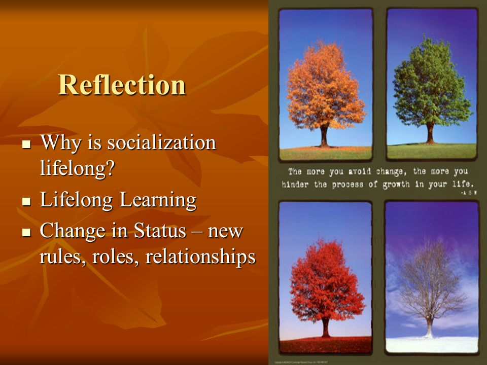 Reflection Why is socialization lifelong. Why is socialization lifelong.