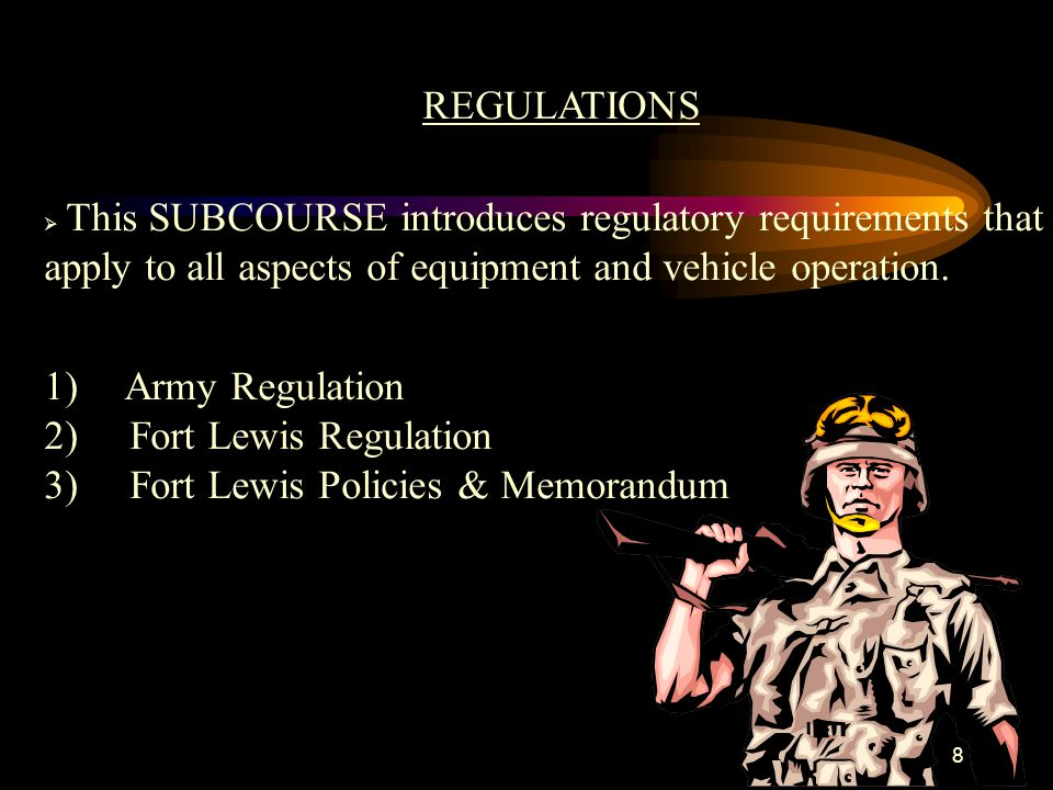 89 TRANSITION TO NEXT LESSON: Now that you have learned and understand required Army Regulation and Local Laws, covered the next lesson will be the General Safety,Accident Avoidance, and Preparation of Records and Forms, but before that take a ______break.