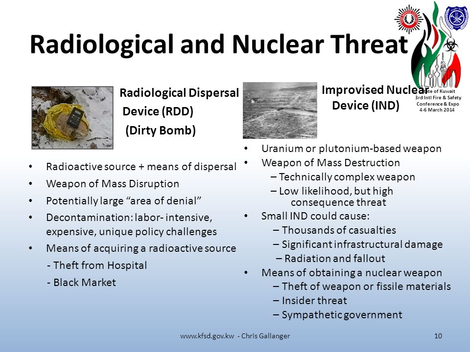 State of Kuwait 3rd Intl Fire & Safety Conference & Expo 4-6 March 2014 Radiological and Nuclear Threat Radiological Dispersal Device (RDD) (Dirty Bomb) Radioactive source + means of dispersal Weapon of Mass Disruption Potentially large area of denial Decontamination: labor- intensive, expensive, unique policy challenges Means of acquiring a radioactive source - Theft from Hospital - Black Market Improvised Nuclear Device (IND) Uranium or plutonium-based weapon Weapon of Mass Destruction – Technically complex weapon – Low likelihood, but high consequence threat Small IND could cause: – Thousands of casualties – Significant infrastructural damage – Radiation and fallout Means of obtaining a nuclear weapon – Theft of weapon or fissile materials – Insider threat – Sympathetic government www.kfsd.gov.kw - Chris Gallanger10