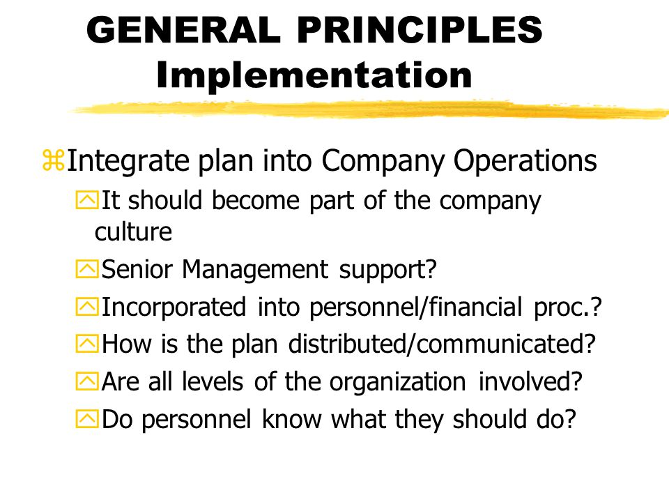GENERAL PRINCIPLES Implementation zIntegrate plan into Company Operations yIt should become part of the company culture ySenior Management support.
