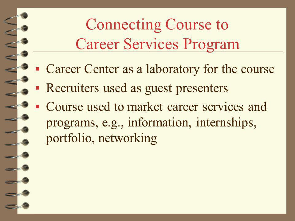 Connecting Course to Career Services Program Career Center as a laboratory for the course Recruiters used as guest presenters Course used to market career services and programs, e.g., information, internships, portfolio, networking
