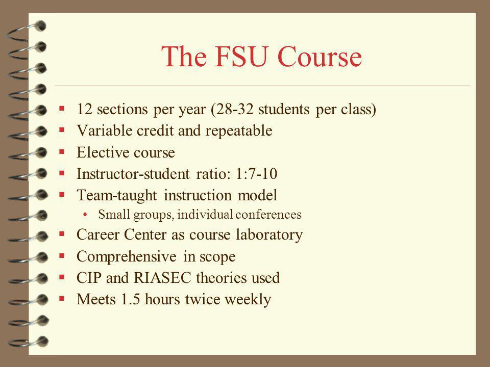 The FSU Course 12 sections per year (28-32 students per class) Variable credit and repeatable Elective course Instructor-student ratio: 1:7-10 Team-taught instruction model Small groups, individual conferences Career Center as course laboratory Comprehensive in scope CIP and RIASEC theories used Meets 1.5 hours twice weekly