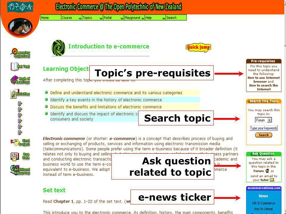 Topics pre-requisites Search topic Ask question related to topic e-news ticker