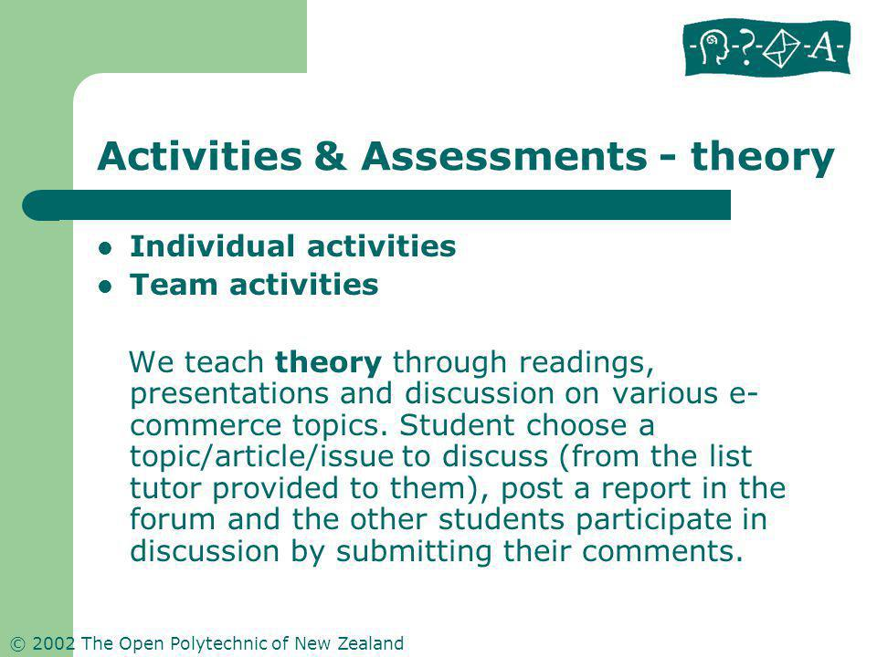 © 2002 The Open Polytechnic of New Zealand Activities & Assessments - theory Individual activities Team activities We teach theory through readings, p