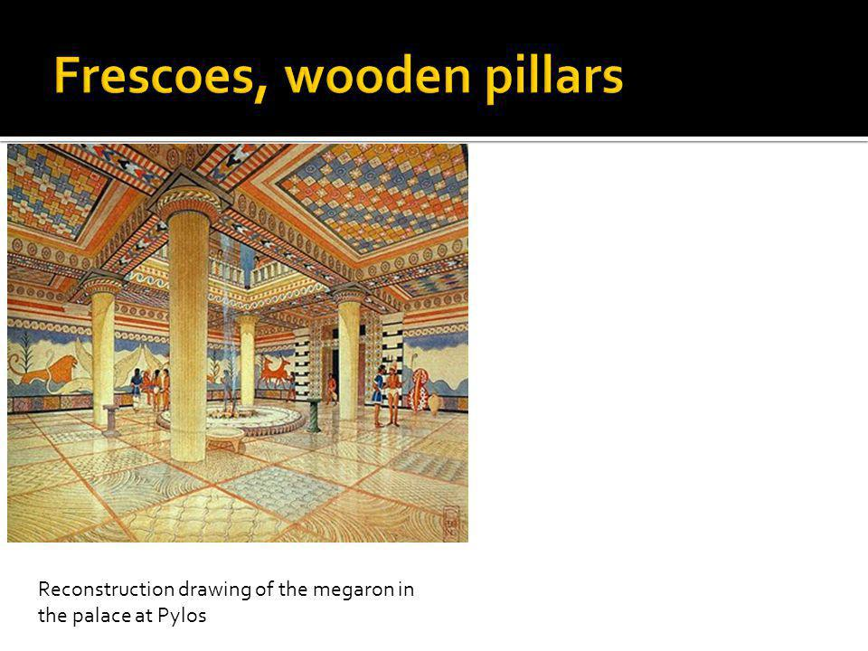 Reconstruction drawing of the megaron in the palace at Pylos