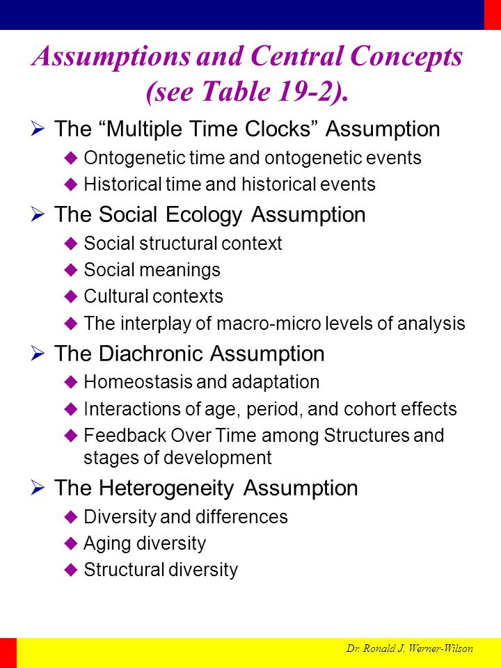 Dr. Ronald J. Werner-Wilson Assumptions and Central Concepts (see Table 19-2). The Multiple Time Clocks Assumption Ontogenetic time and ontogenetic ev