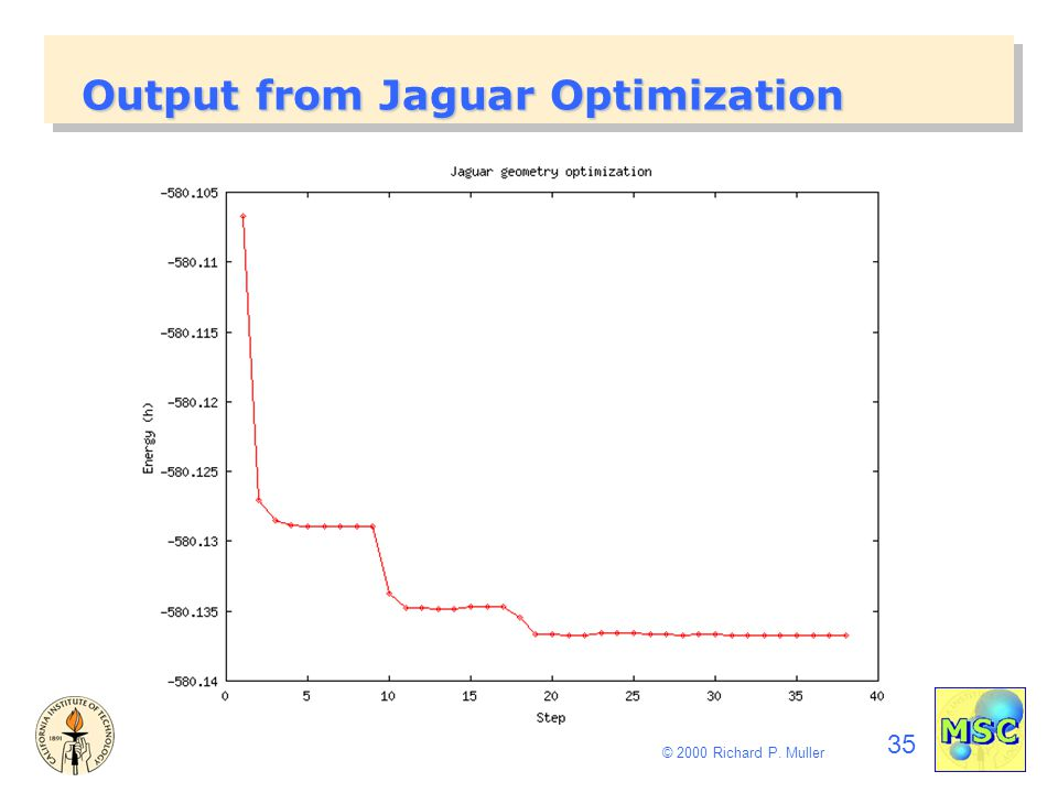 35 © 2000 Richard P. Muller Output from Jaguar Optimization