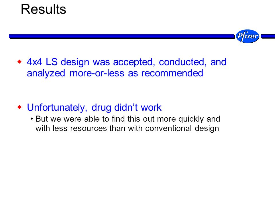 Results 4x4 LS design was accepted, conducted, and analyzed more-or-less as recommended Unfortunately, drug didnt work But we were able to find this o