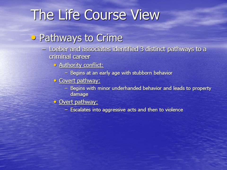 The Life Course View Pathways to Crime Pathways to Crime –Loeber and associates identified 3 distinct pathways to a criminal career Authority conflict