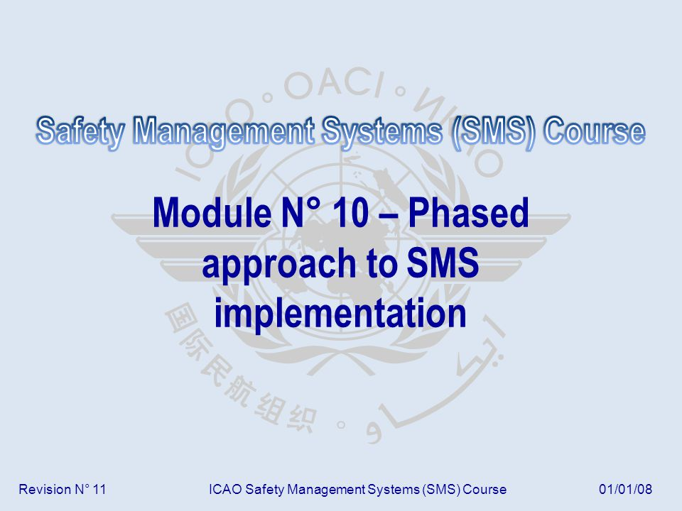 Module N° 10ICAO Safety Management Systems (SMS) Course 42 Table 10/02 – SMS implementation plan Nº Component/element Date: