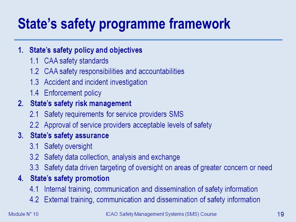 ICAO Safety Management Systems (SMS) Course 19 Module N° 10 States safety programme framework 1.States safety policy and objectives 1.1 CAA safety sta