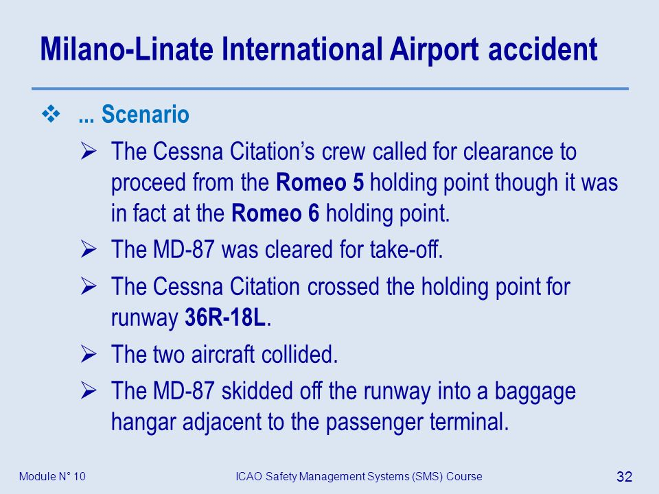 ICAO Safety Management Systems (SMS) Course 32 Module N° 10 Milano-Linate International Airport accident... Scenario The Cessna Citations crew called