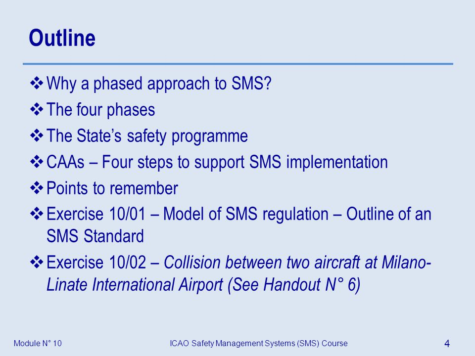 ICAO Safety Management Systems (SMS) Course 4 Module N° 10 Outline Why a phased approach to SMS? The four phases The States safety programme CAAs – Fo