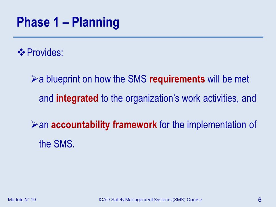 ICAO Safety Management Systems (SMS) Course 27 Module N° 10 Model of SMS regulation – Outline of a SMS Standard Group activity: A facilitator will be appointed, who will coordinate the discussion.