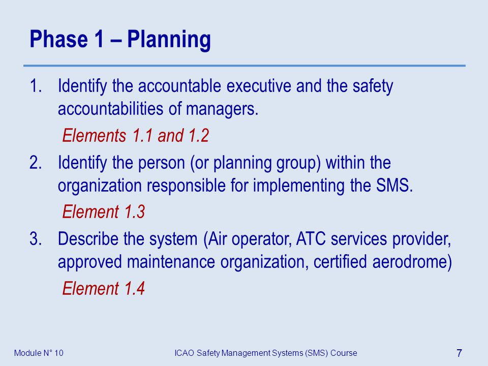 ICAO Safety Management Systems (SMS) Course 28 Module N° 10 Model of SMS regulation – Outline of a SMS Standard Group assignment: On the basis of what was presented and discussed in modules 6 to 9, develop a model of SMS regulation, that addresses the following three general areas: 1.Scope and application 2.Main definitions (Do not develop) 3.General contents (Only headlines) of the SMS regulation
