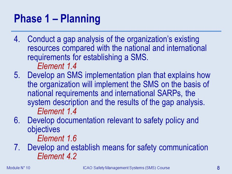 ICAO Safety Management Systems (SMS) Course 8 Module N° 10 Phase 1 – Planning 4.Conduct a gap analysis of the organizations existing resources compare