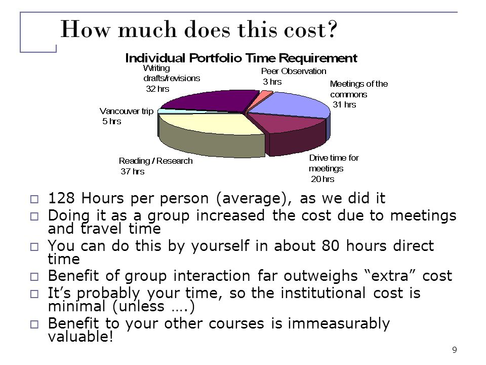 9 How much does this cost? 128 Hours per person (average), as we did it Doing it as a group increased the cost due to meetings and travel time You can