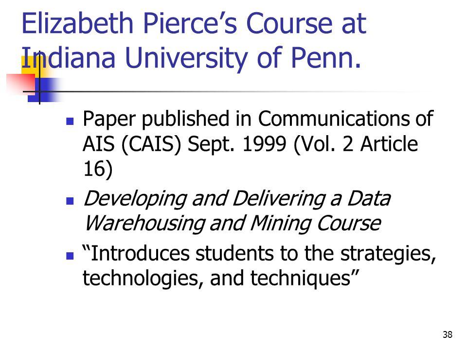 38 Elizabeth Pierces Course at Indiana University of Penn.