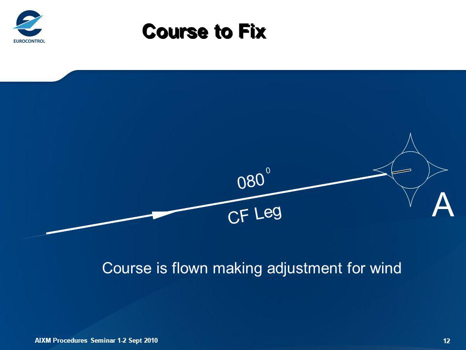 AIXM Procedures Seminar 1-2 Sept 2010 12 CF Leg 080 0 A Course to Fix Course is flown making adjustment for wind