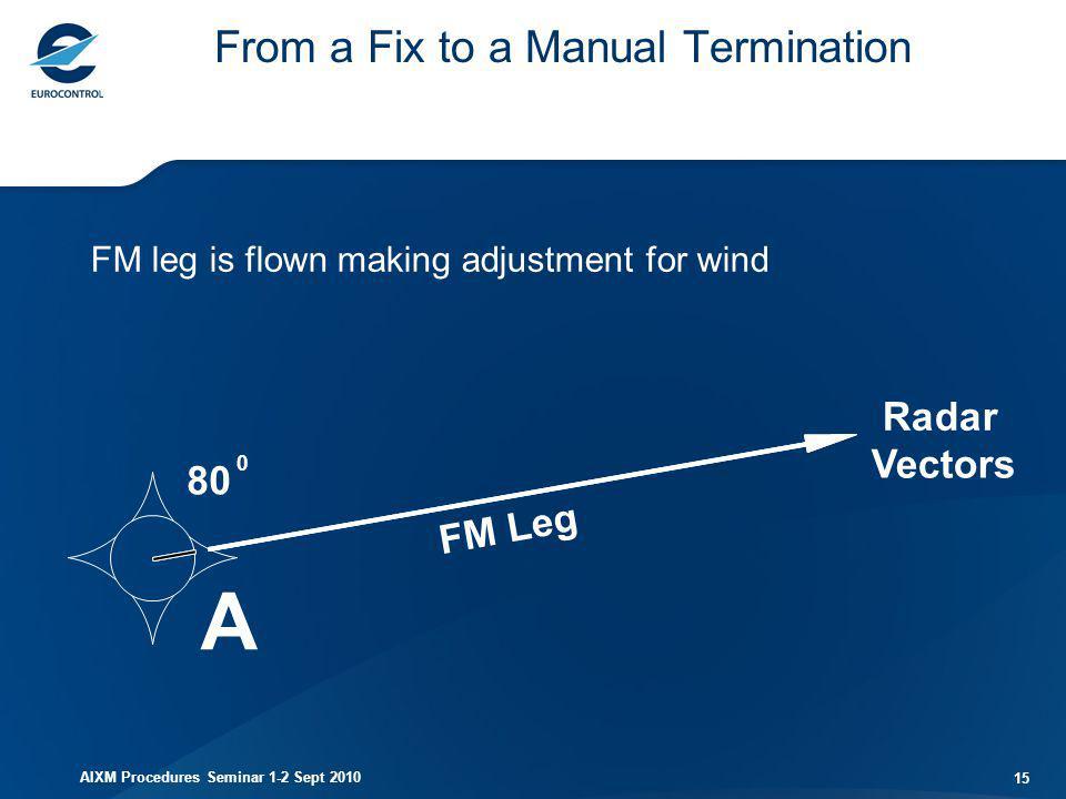 AIXM Procedures Seminar 1-2 Sept 2010 15 From a Fix to a Manual Termination 80 A FM Leg Radar Vectors 0 FM leg is flown making adjustment for wind