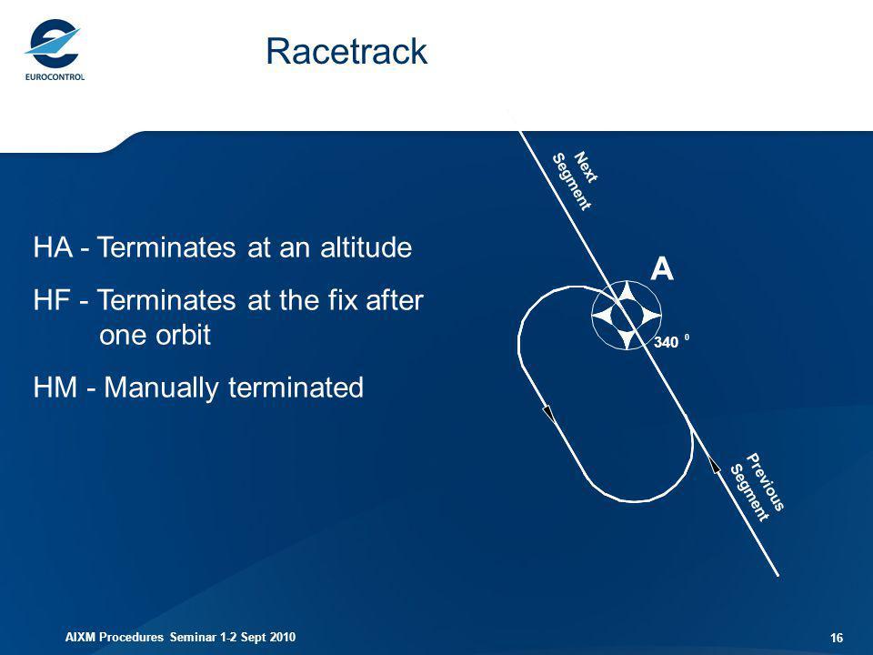 AIXM Procedures Seminar 1-2 Sept 2010 16 Racetrack HA - Terminates at an altitude HF - Terminates at the fix after one orbit HM - Manually terminated