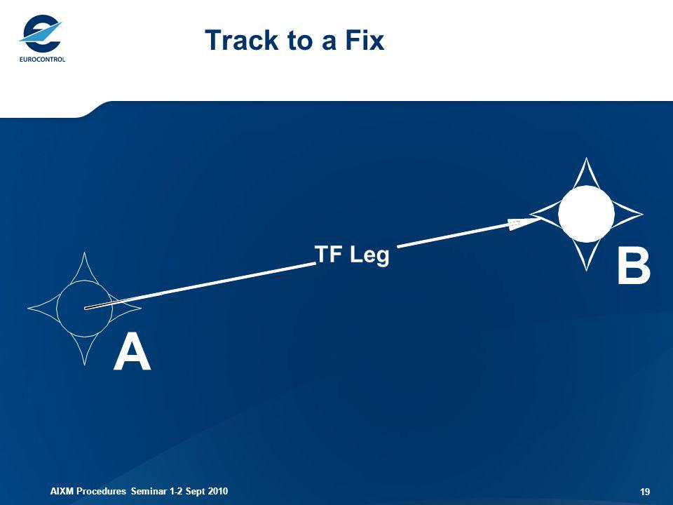AIXM Procedures Seminar 1-2 Sept 2010 19 Track to a Fix TF Leg A B