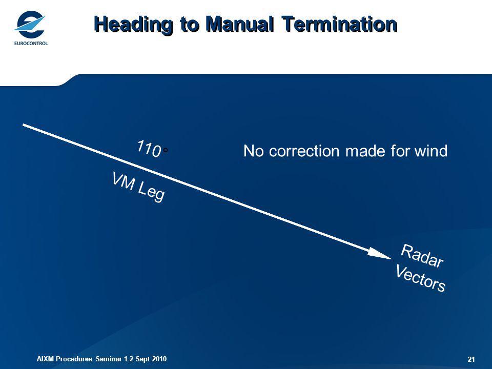 AIXM Procedures Seminar 1-2 Sept 2010 21 110° VM Leg Radar Vectors Heading to Manual Termination No correction made for wind
