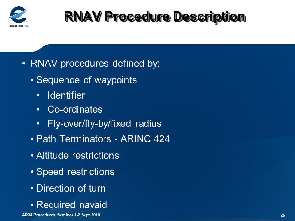 AIXM Procedures Seminar 1-2 Sept 2010 26 RNAV Procedure Description RNAV procedures defined by: Sequence of waypoints Identifier Co-ordinates Fly-over