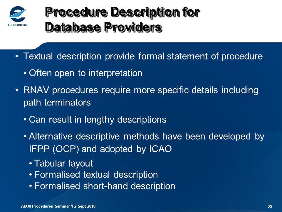 AIXM Procedures Seminar 1-2 Sept 2010 29 Procedure Description for Database Providers Textual description provide formal statement of procedure Often