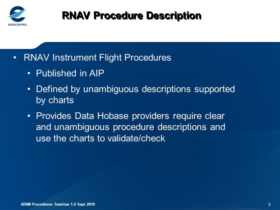 AIXM Procedures Seminar 1-2 Sept 2010 34 Integrity Field Enables validation of integrity Use 32 bit CRC calculated using binary representation The avionics, when using FAS data block, must compare the resulting CRC remainder with the value provided by the procedure designer.