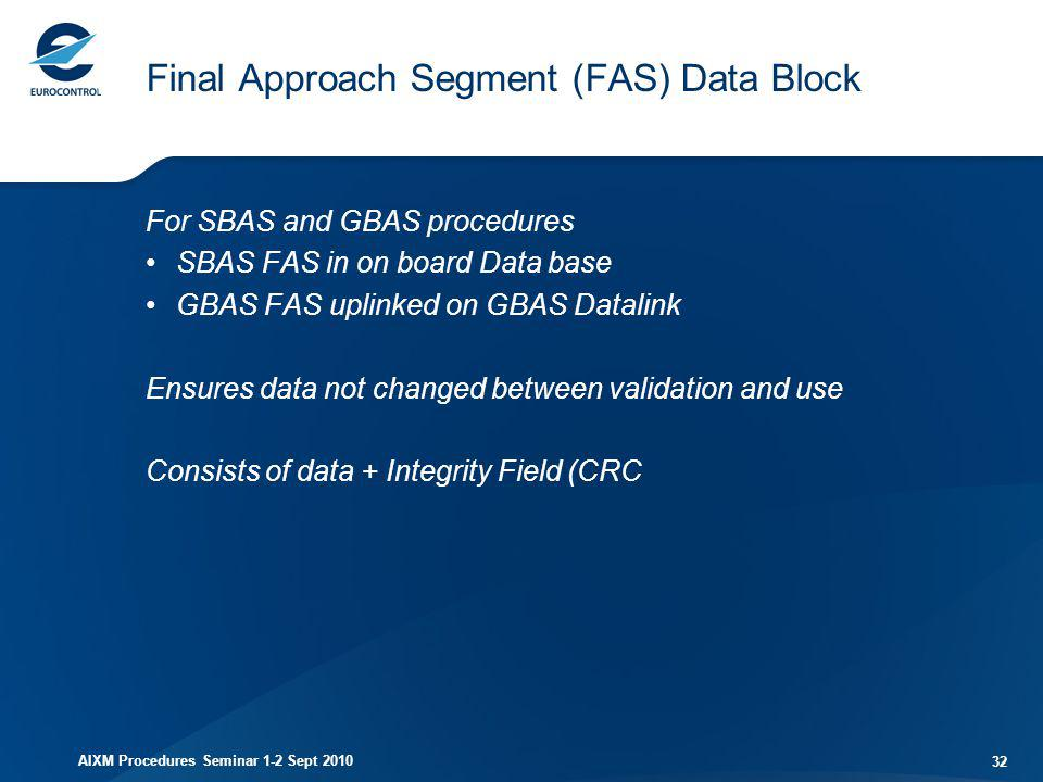 AIXM Procedures Seminar 1-2 Sept 2010 32 Final Approach Segment (FAS) Data Block For SBAS and GBAS procedures SBAS FAS in on board Data base GBAS FAS
