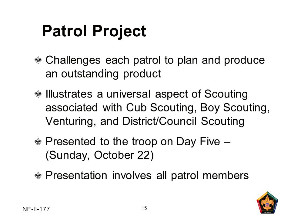 NE-II-177 15 Patrol Project Challenges each patrol to plan and produce an outstanding product Illustrates a universal aspect of Scouting associated wi