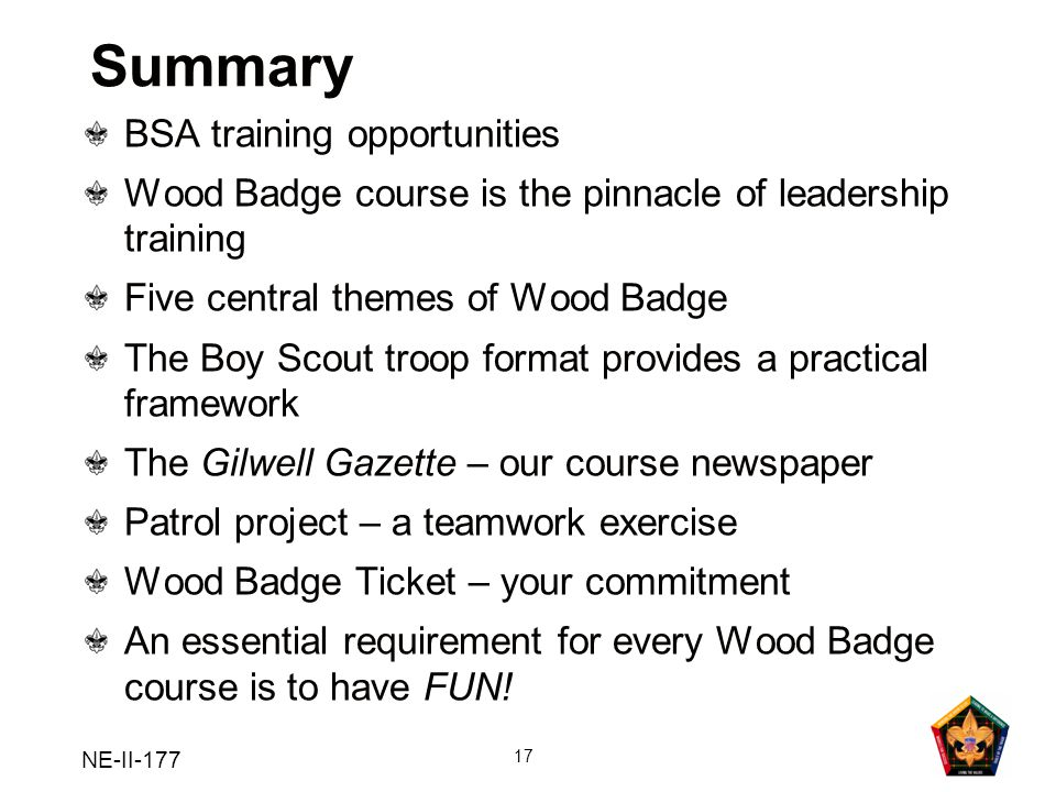 NE-II-177 17 Summary BSA training opportunities Wood Badge course is the pinnacle of leadership training Five central themes of Wood Badge The Boy Sco
