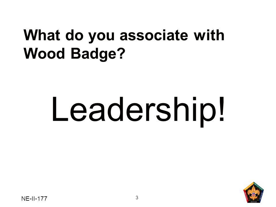 NE-II-177 3 What do you associate with Wood Badge? Leadership!