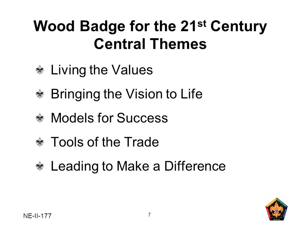 NE-II-177 18 Review of Learning Objectives Understand the progression of BSA training opportunities and the place Wood Badge holds in that framework Have an overview of the practical and application phases of Wood Badge Understand why the Boy Scout troop is used during Wood Badge as the model for training and team-building Have discarded any misconceptions or anxiety regarding the course purpose, content, and methods of presentation Now you should: