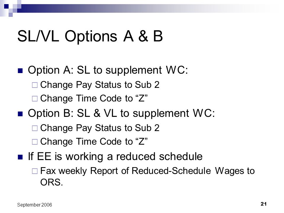 21 September 2006 SL/VL Options A & B Option A: SL to supplement WC: Change Pay Status to Sub 2 Change Time Code to Z Option B: SL & VL to supplement