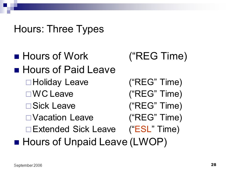 28 September 2006 Hours: Three Types Hours of Work(REG Time) Hours of Paid Leave Holiday Leave(REG Time) WC Leave(REG Time) Sick Leave(REG Time) Vacat