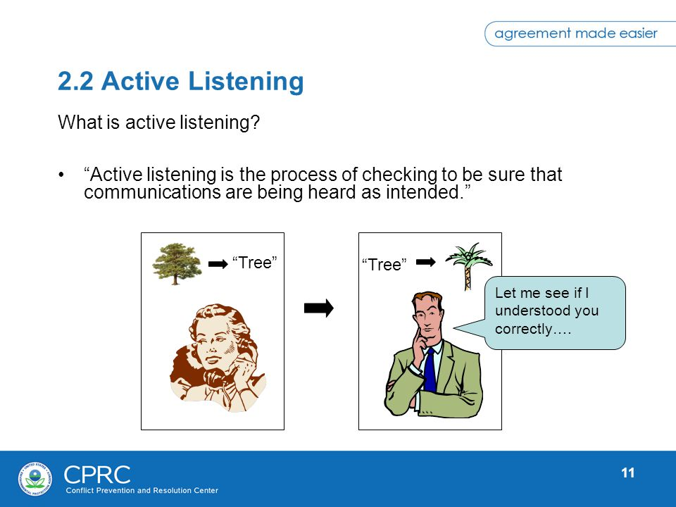 11 2.2 Active Listening Active listening is the process of checking to be sure that communications are being heard as intended. What is active listeni