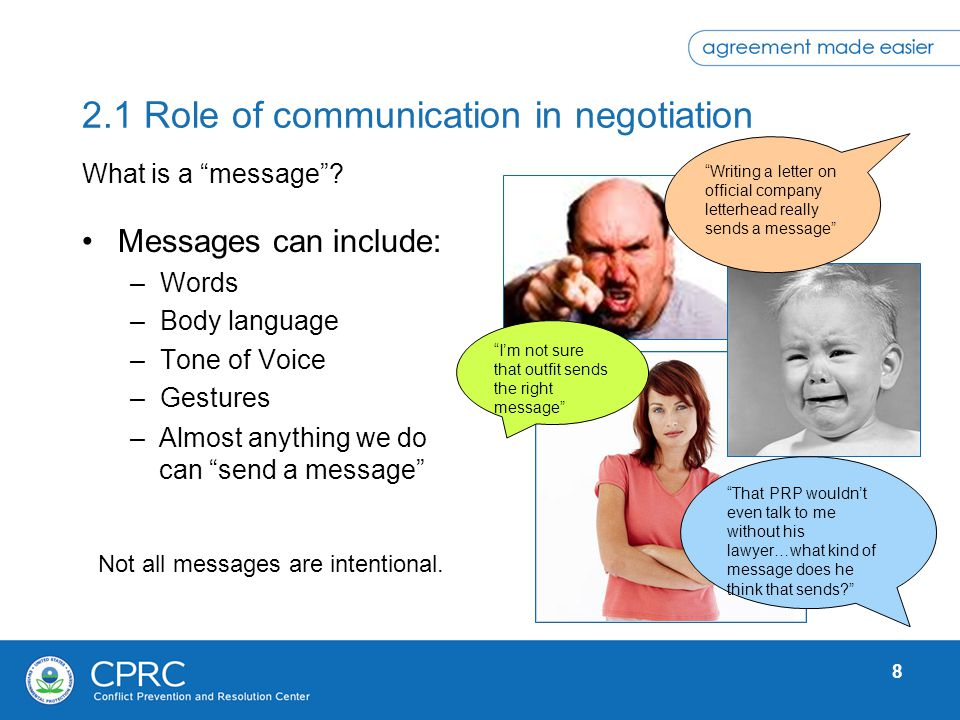 8 2.1 Role of communication in negotiation Messages can include: –Words –Body language –Tone of Voice –Gestures What is a message? Not all messages ar