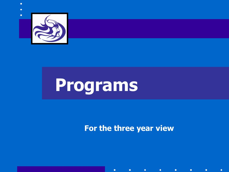 Programs For the three year view
