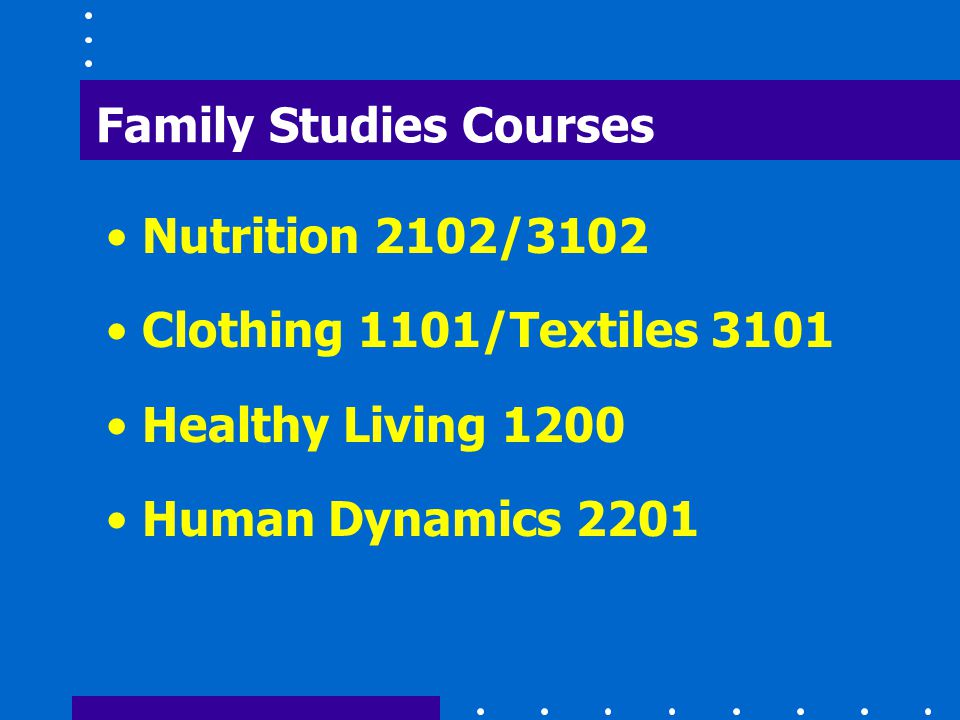 Family Studies Courses Nutrition 2102/3102 Clothing 1101/Textiles 3101 Healthy Living 1200 Human Dynamics 2201