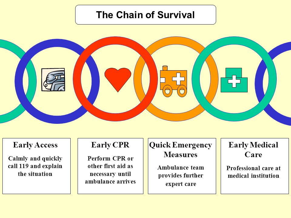 The Chain of Survival Early Access Calmly and quickly call 119 and explain the situation Early CPR Perform CPR or other first aid as necessary until a