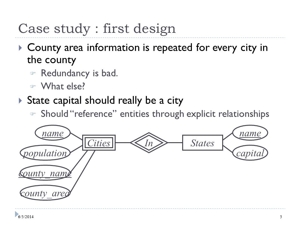 6 Case study : second design Technically, nothing in this design could prevent a city in state X from being the capital of another state Y, but oh well… Cities IsCapitalOf name population Counties name area name In States 66/5/2014